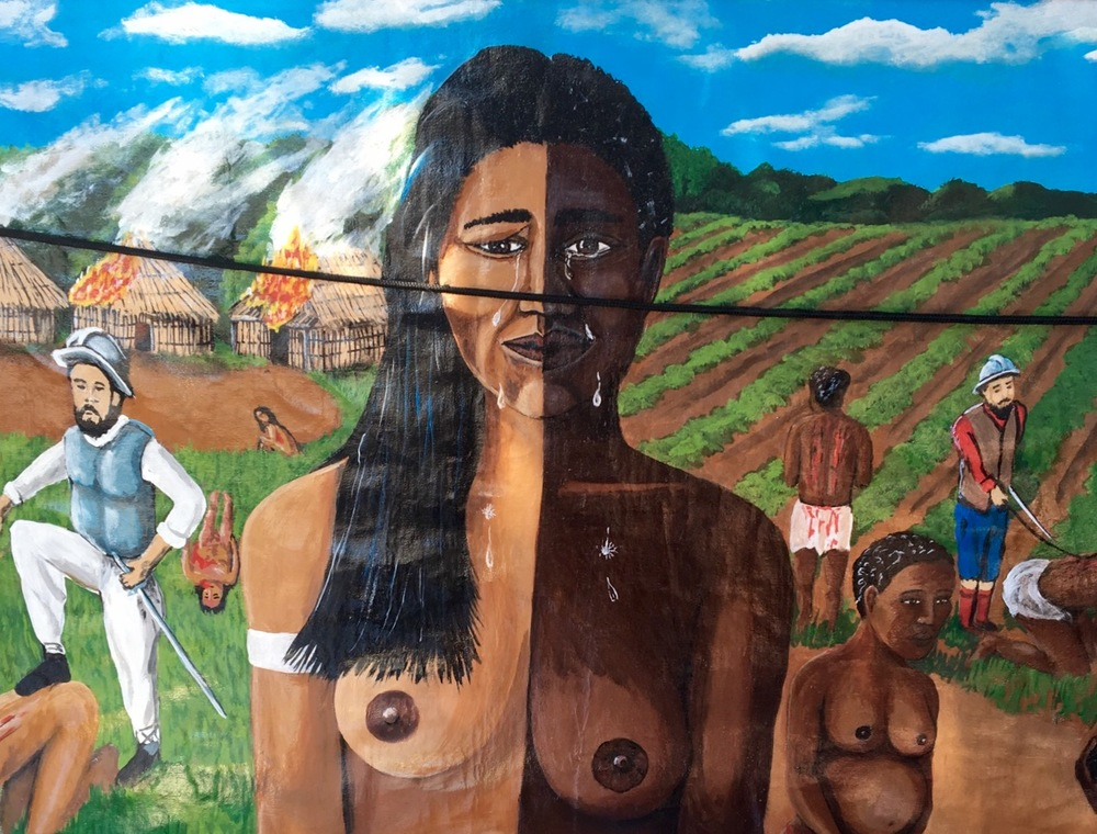 illustration of the genocide of taino people in the dominican republic