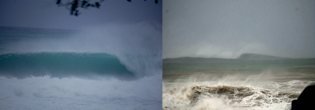 Hurricane Irma hitting the Dominican Republic waves